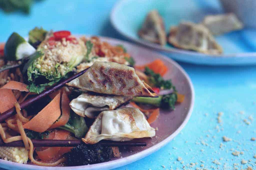 Vegan Pad Thai with vegetable Gyozu dumplings
