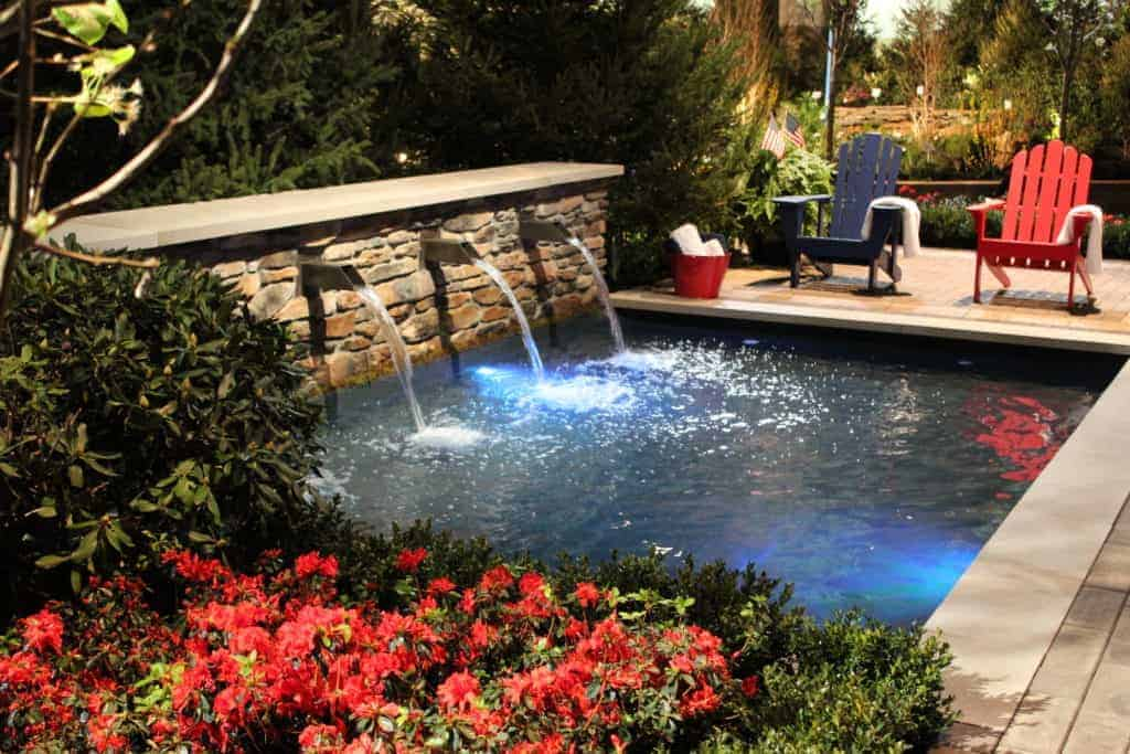 Water Feature with 3 water streams flowing into a shallow water