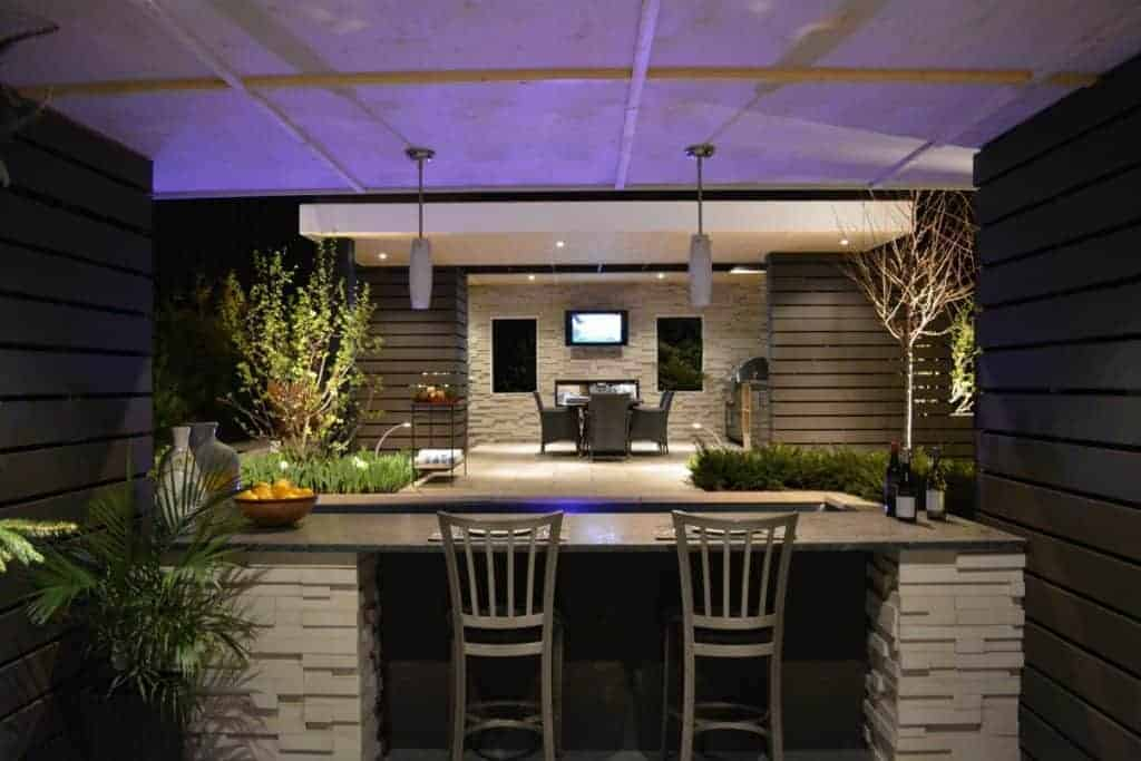inviting social space with Outdoor Bar and living area