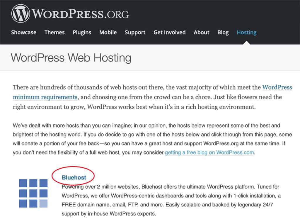 WordPress.org Recommends Bluehost 2020