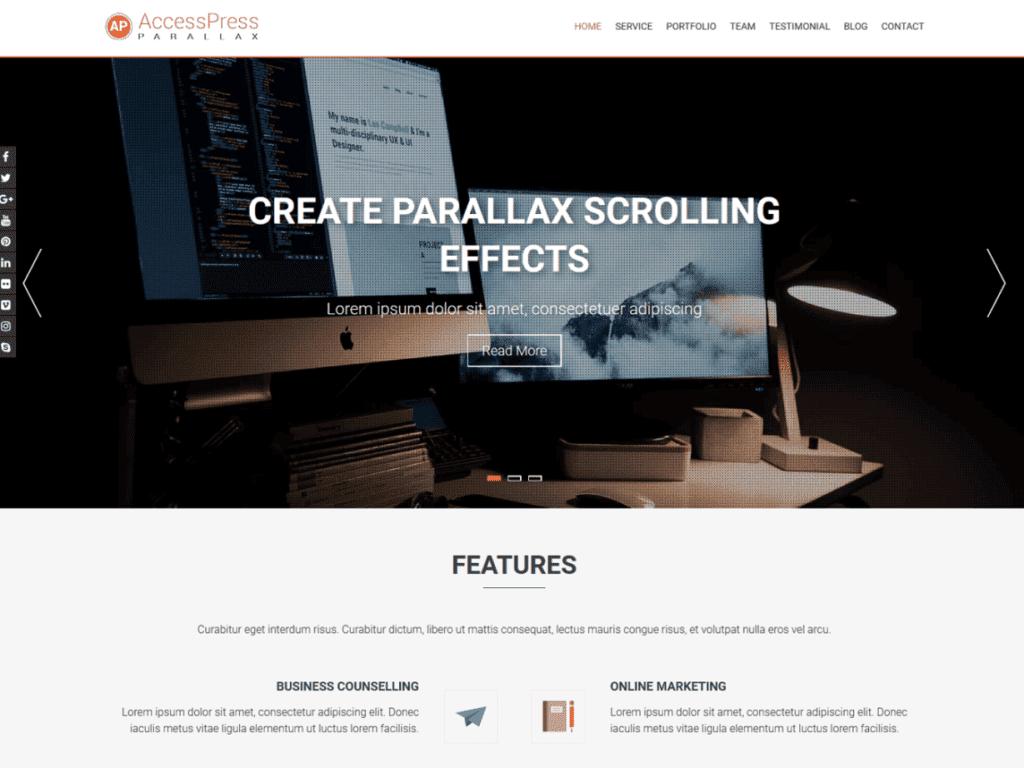 parallax scrolling free WP theme