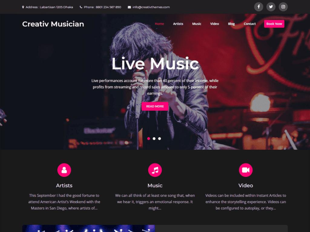 creative musician free wordpress theme