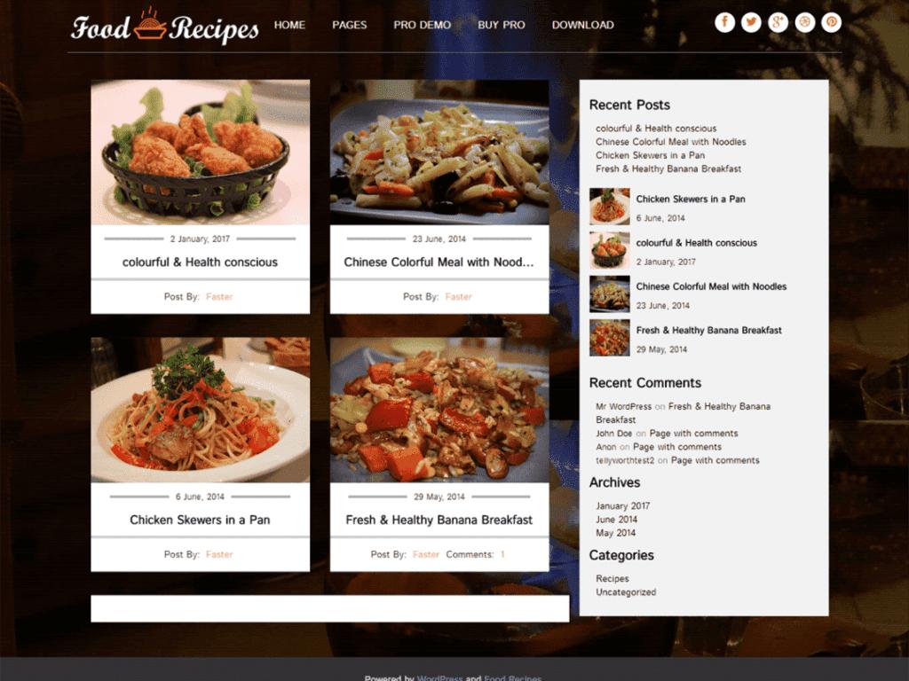 food recipes free theme wordpress