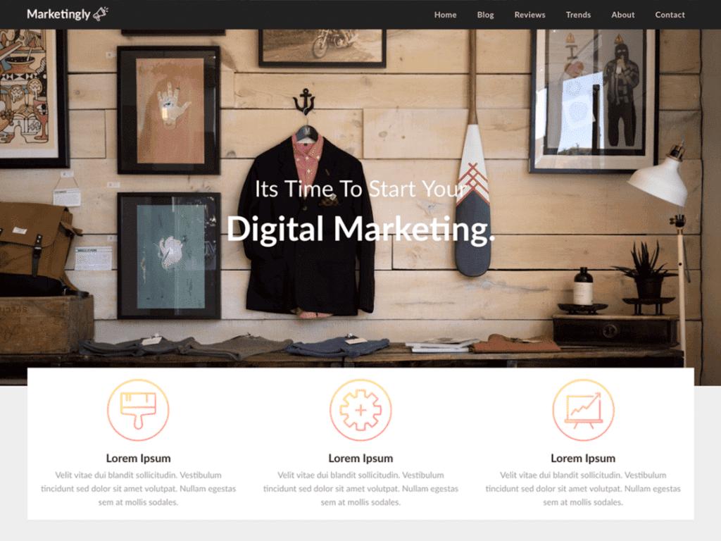 Marketingly free WordPress theme