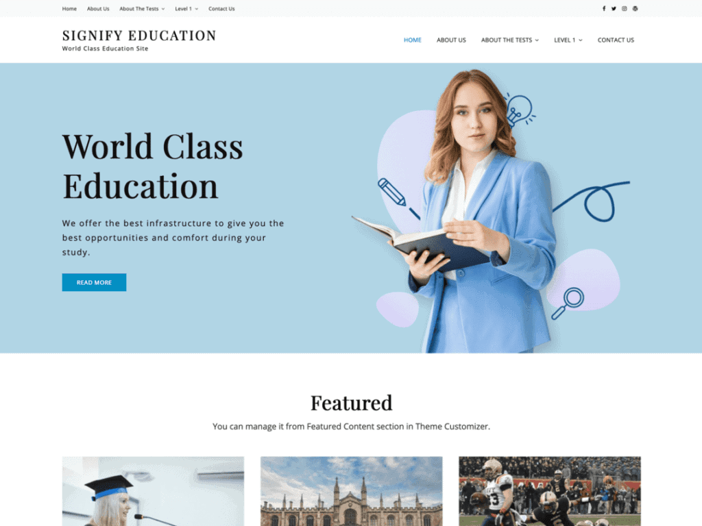 Signify Education free theme