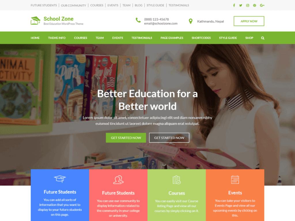 School Zone is a child theme of Education Zone free WordPress theme.