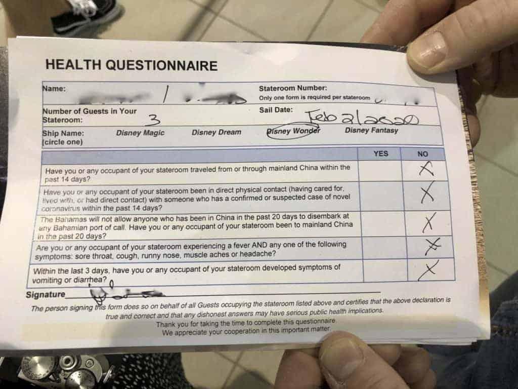 Health Questionnaire Wonder Port of San Juan to New Orleans