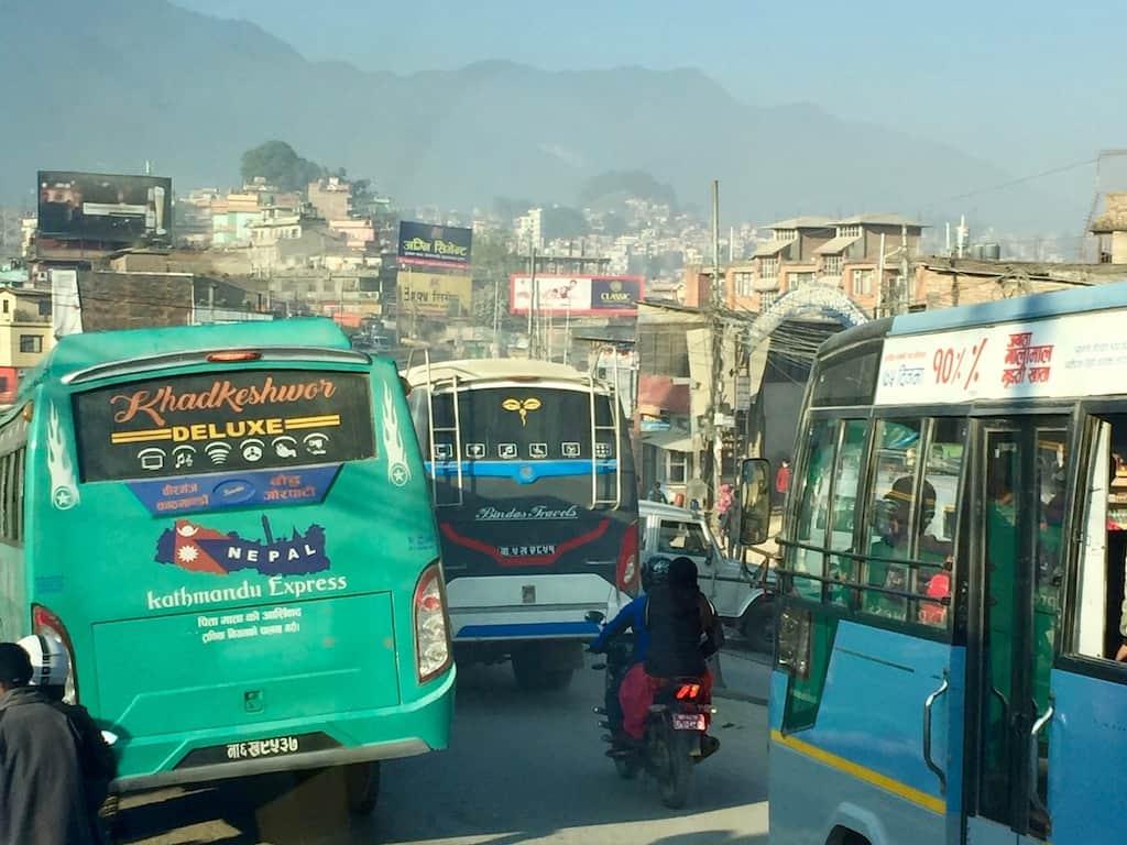 Stau in Kathmandu