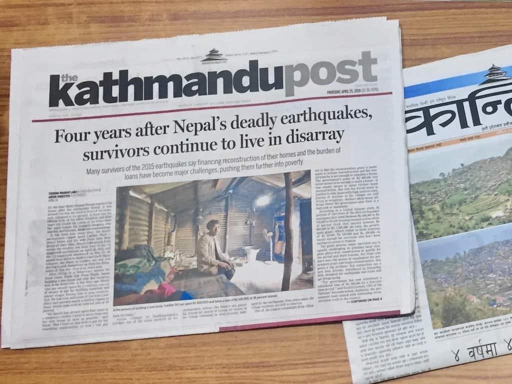 Erdbeben Nepal: Kathmandu Post vom 25.4., dem vierten Jahrestag der Katastrophe