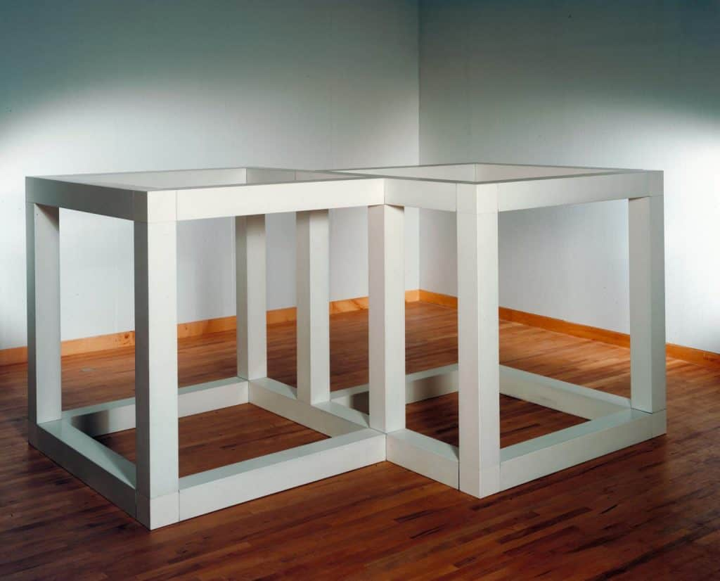 Sol LeWitt, Two Open Modular Cubes/Half-Off, 1972. Photo courtesy of Tate Modern. Minimalism