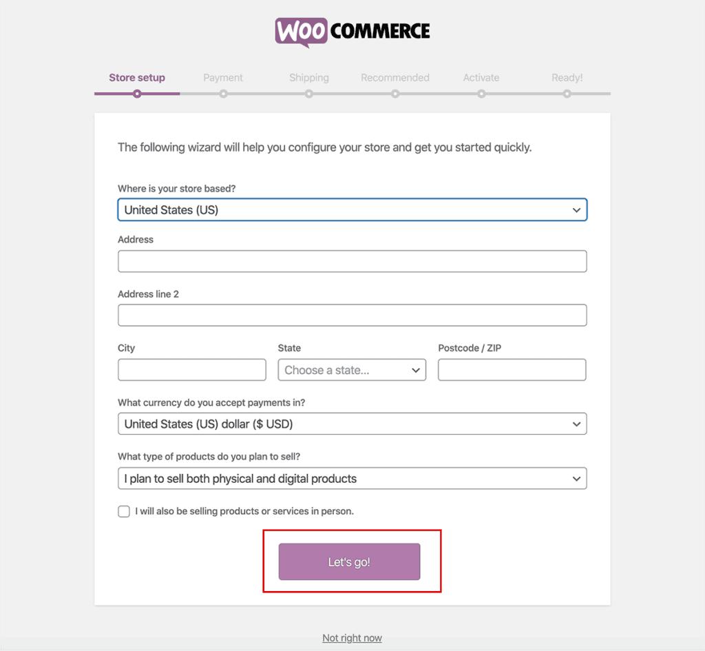 WooCommerce Store Setup get started
