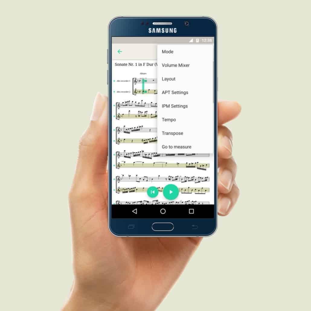 PhonicScore Android App Einstellungen