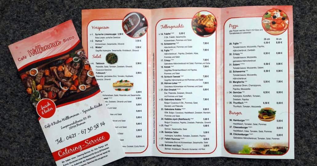 Flyer und Speisekarte gedruckt