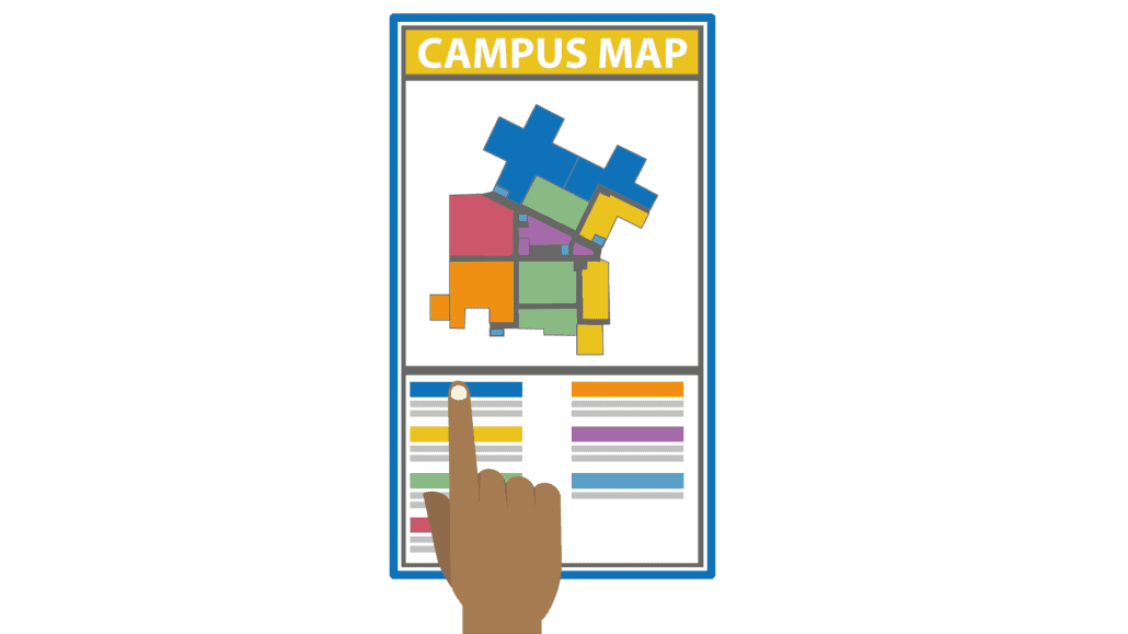 A wayfinding solution map can help you find your way around a large campus or school grounds