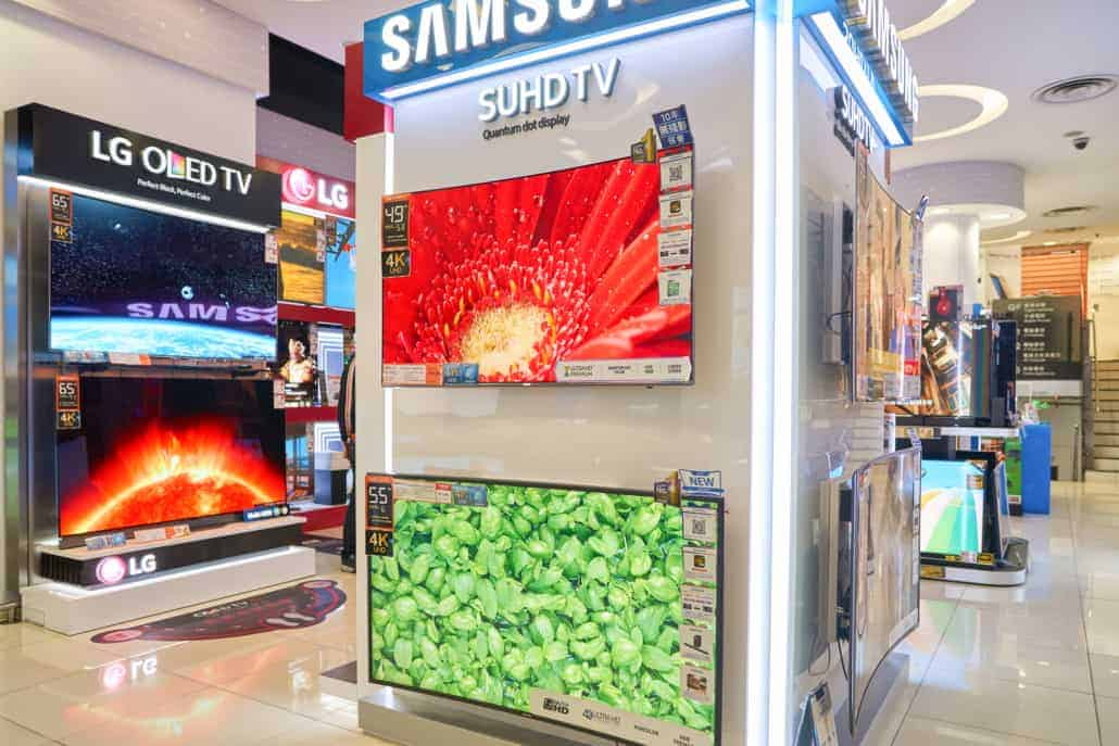 Electronics store to show LG and Samsung screens