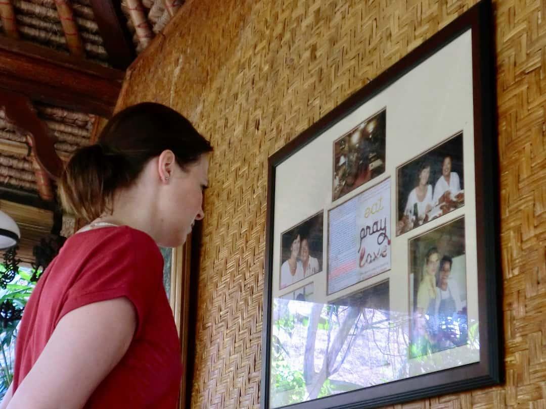 Eat Pray Love Bali Aushang im Cafe