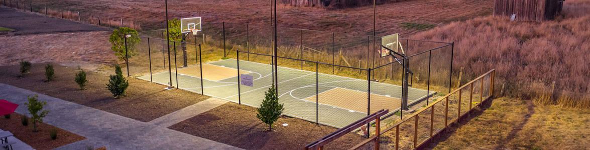 Basketball courts at dusk