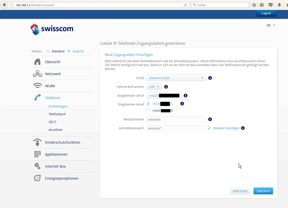 SwissCom Internet-Box - Einstellungen IP-Telefonie-Zugangsdaten