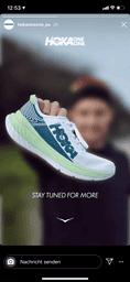 Instagram Story Jan Frodeno mit Hoka Schuh in der Hand