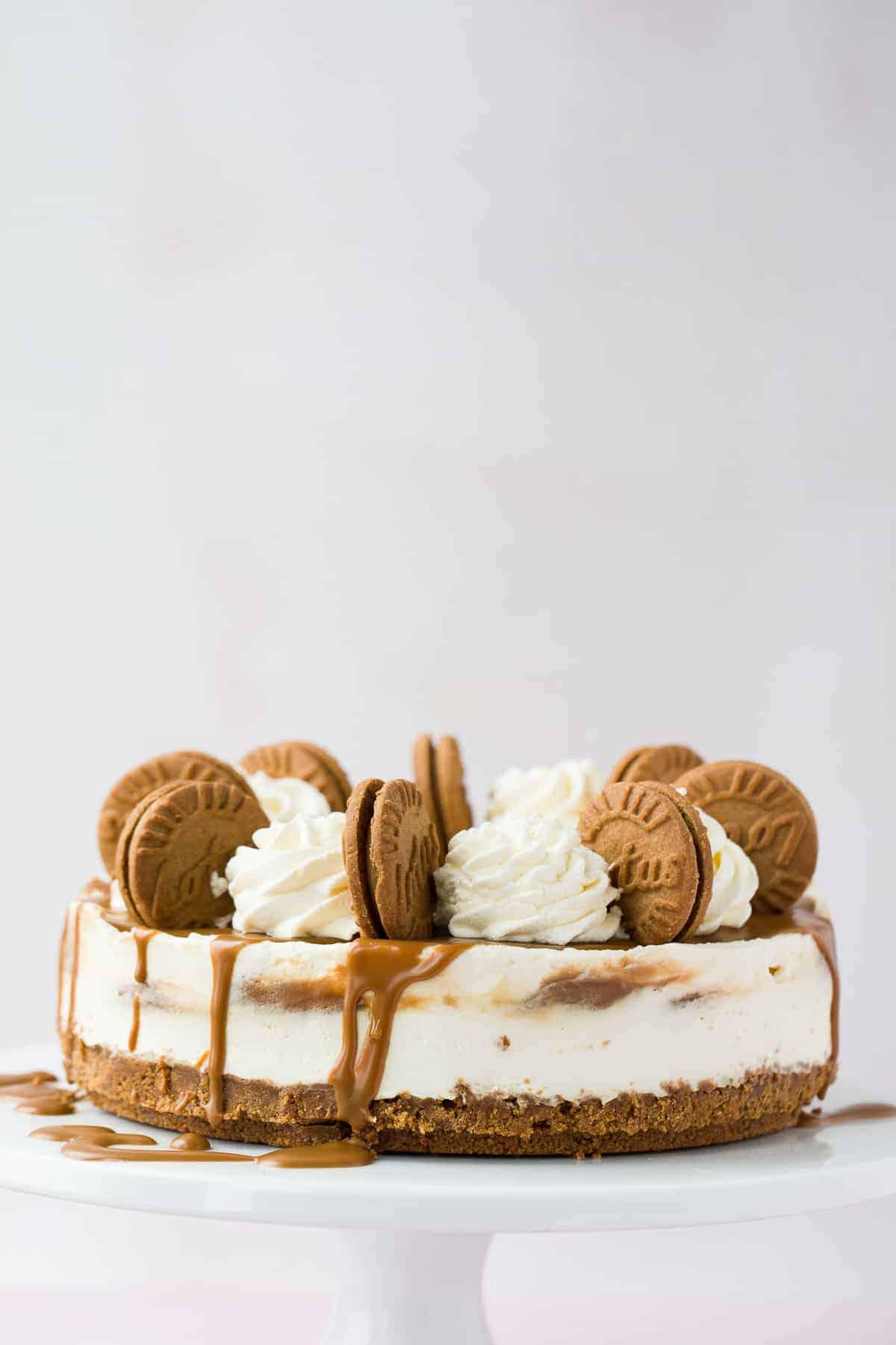 A no-bake Biscoff cheesecake dessert.