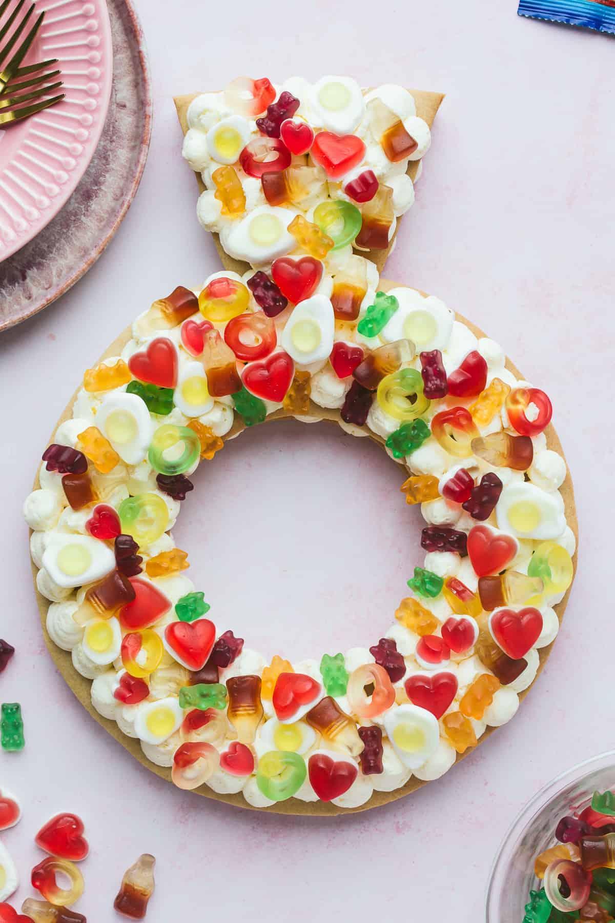 Ring shape cream tart with HARIBO sweets.
