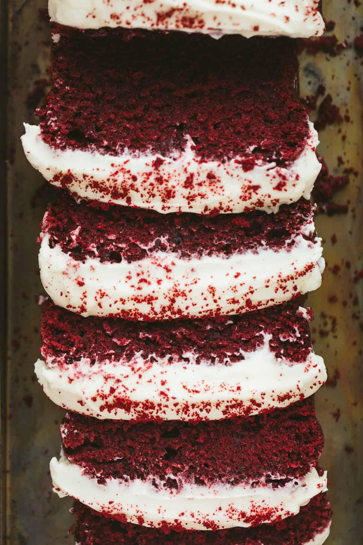 A sliced red velvet cake.