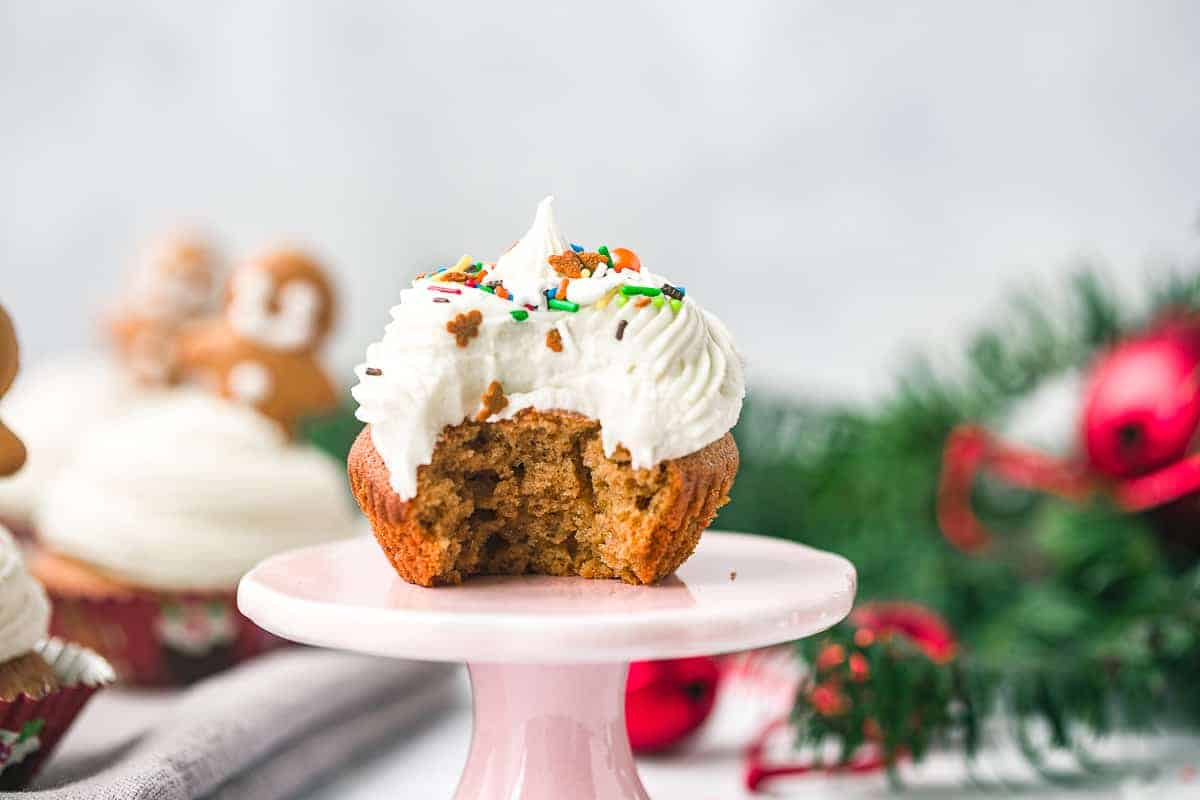 A ginger and cinnamon cupcake with cream cheese icing.