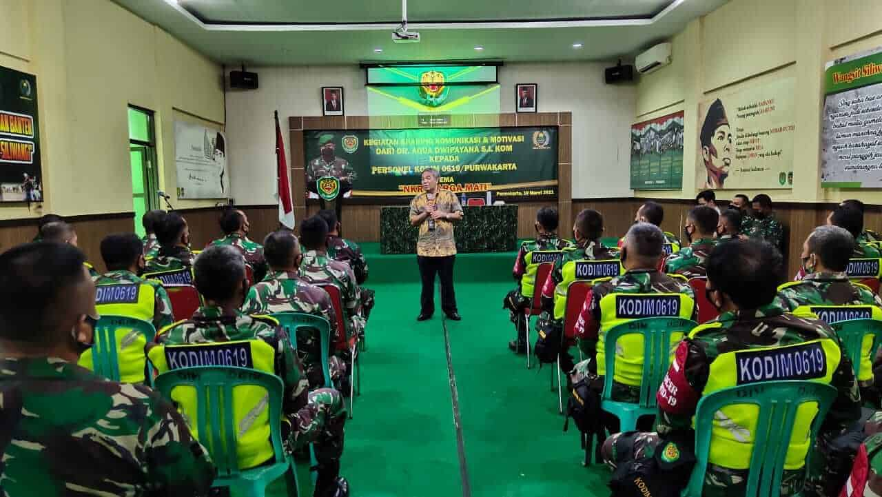 Tingkatkan Pengetahuan Prajurit Kodim 0619 PurwakartaMenggelar Sharing Komunikasi Dan Motivasi