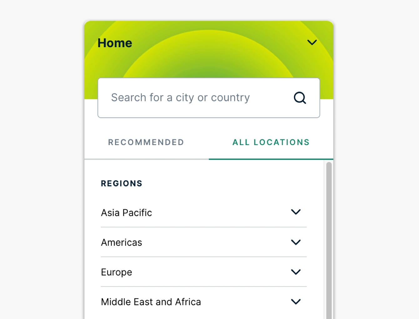 """The """"All Locations"""" tab."""