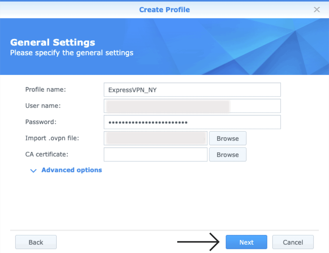 Specify the general settings for your OpenVPN connection.