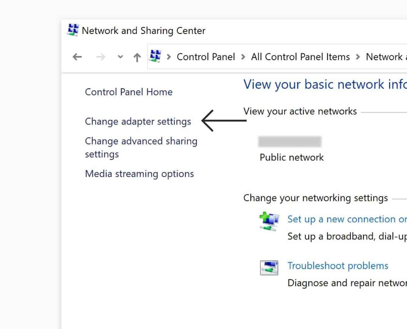 "Click ""Change adapter settings."""