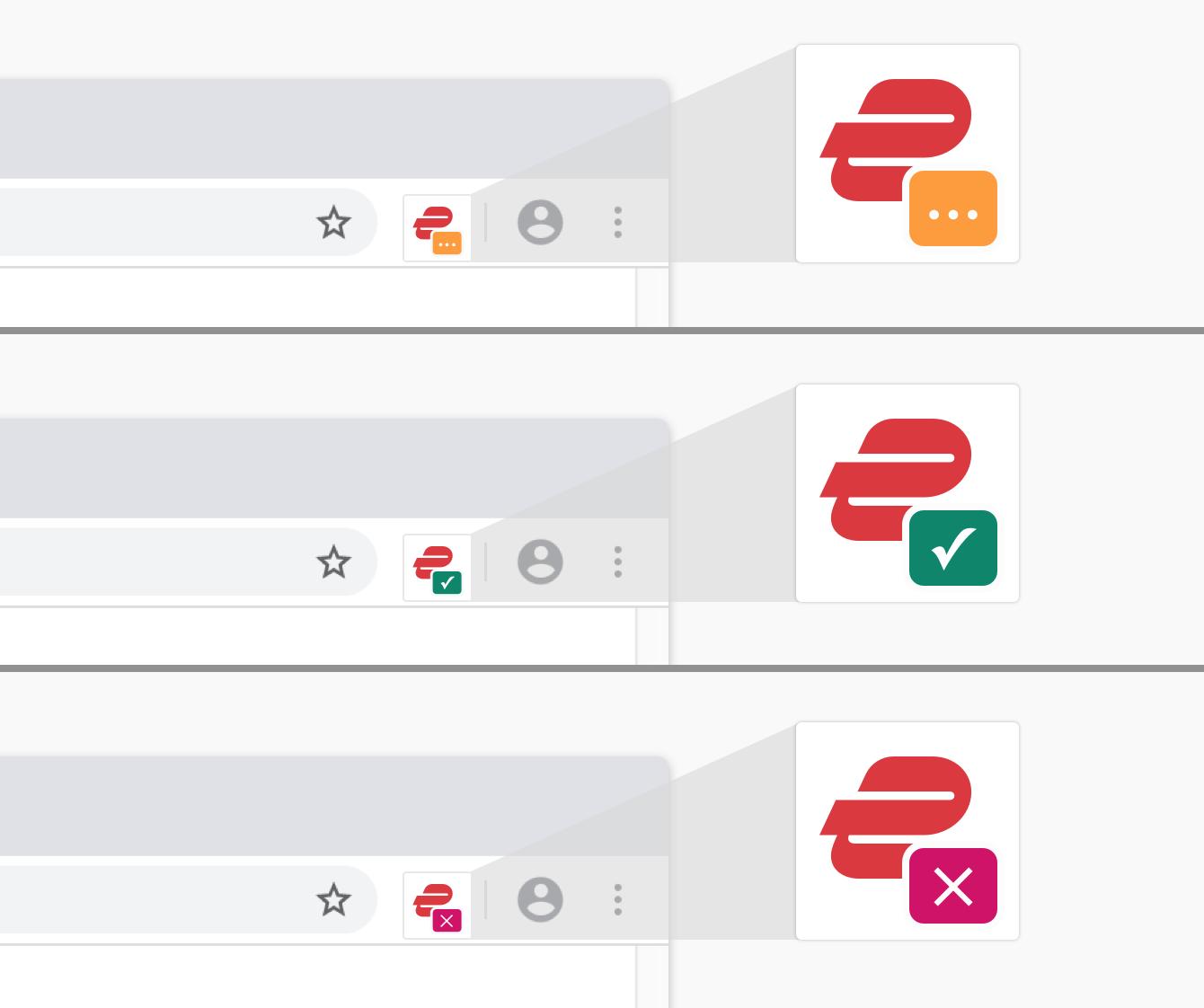 Veja o status da VPN rapidamente na barra de ferramentas do navegador: laranja durante a conexão, verde quando conectado e vermelho para erros.