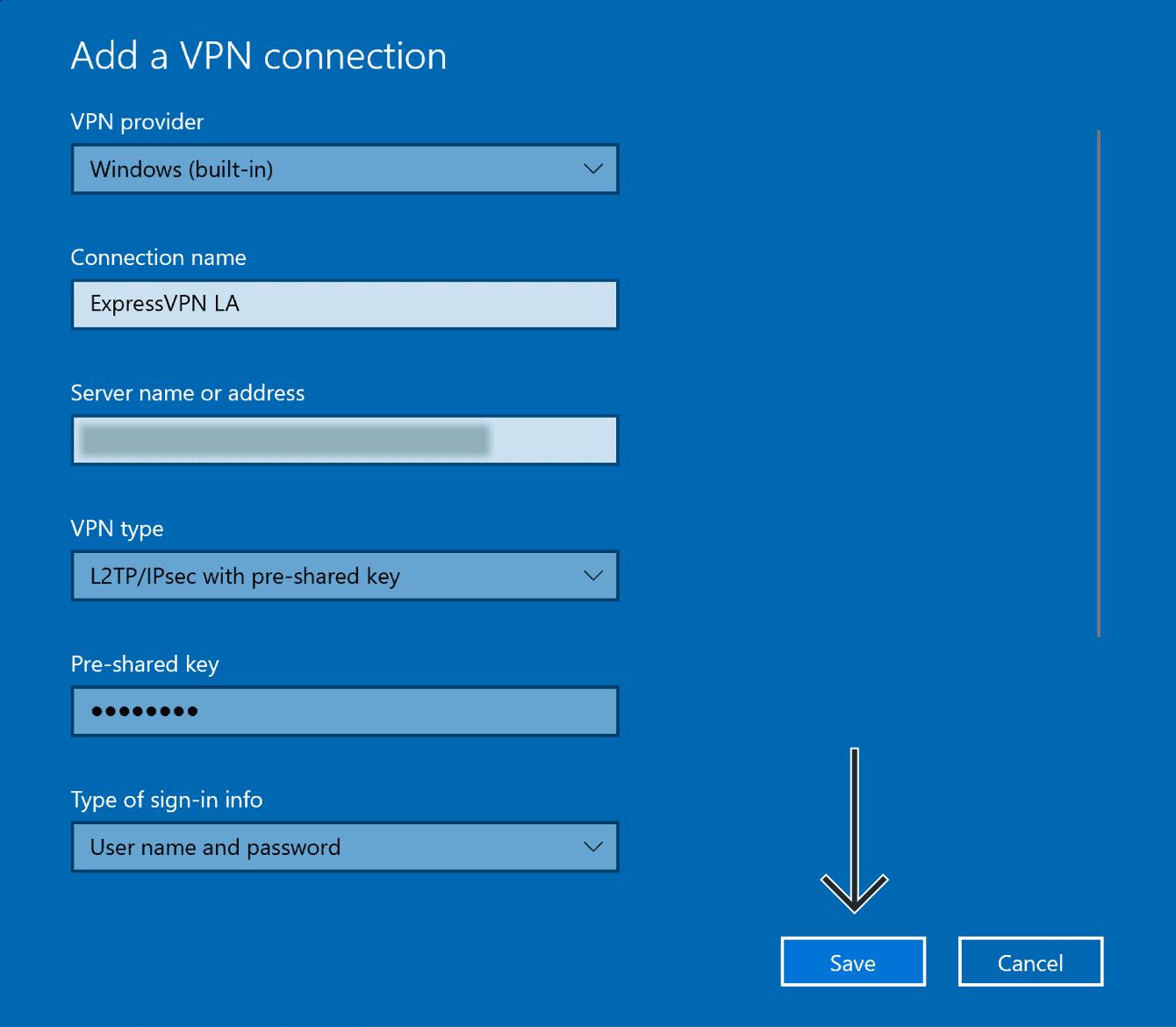 """Digite os detalhes para a conexão L2TP VPN, depois clique em """"Salvar""""."""