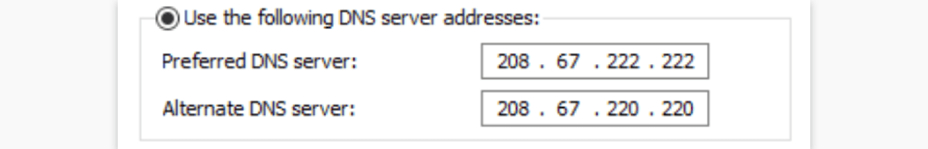 Enter the DNS server addresses you want to use.