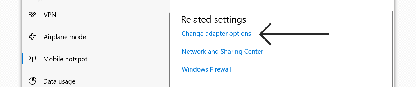 """Click """"Change adapter options."""""""