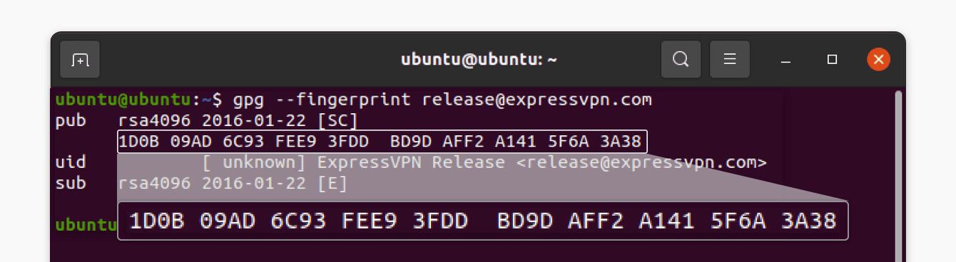 Verify the fingerprint of the PGP key.