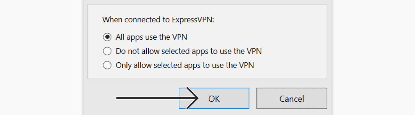 """Selecione """"Todos os aplicativos usam a VPN,"""" então clique em """"OK."""""""