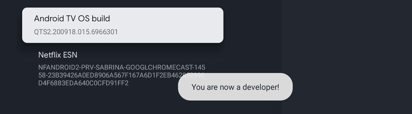 """Locate """"Android TV OS build."""" Keep selecting it until it says, """"You are now a developer!"""""""
