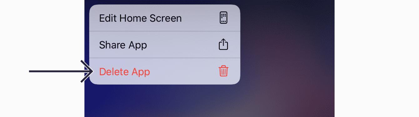 """Tap """"Delete App."""""""
