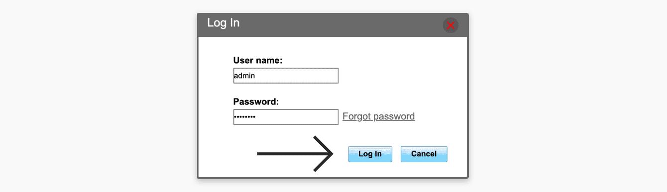 """Ingrese su nombre de usuario y contraseña, luego haga clic en """"Iniciar sesión""""."""