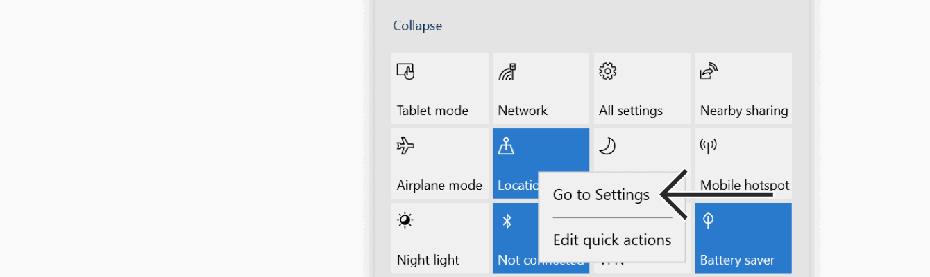 """Right click """"Location,"""" then select """"Go to Settings."""""""