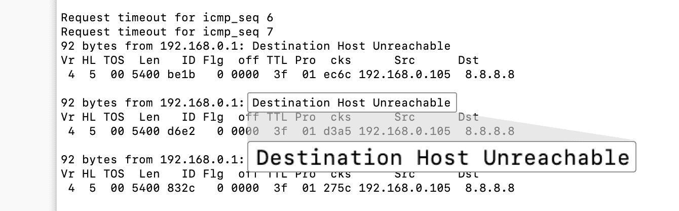 """The ping tests should read """"Timed Out"""" or """"Destination Host Unreachable."""""""