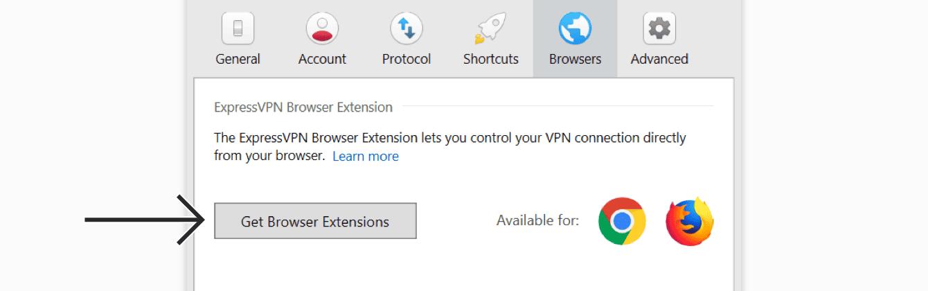 """Clique em """"Obter extensões de navegador."""""""