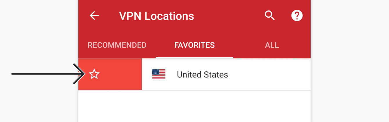 To remove a location from your favorites, drag it to the right again.