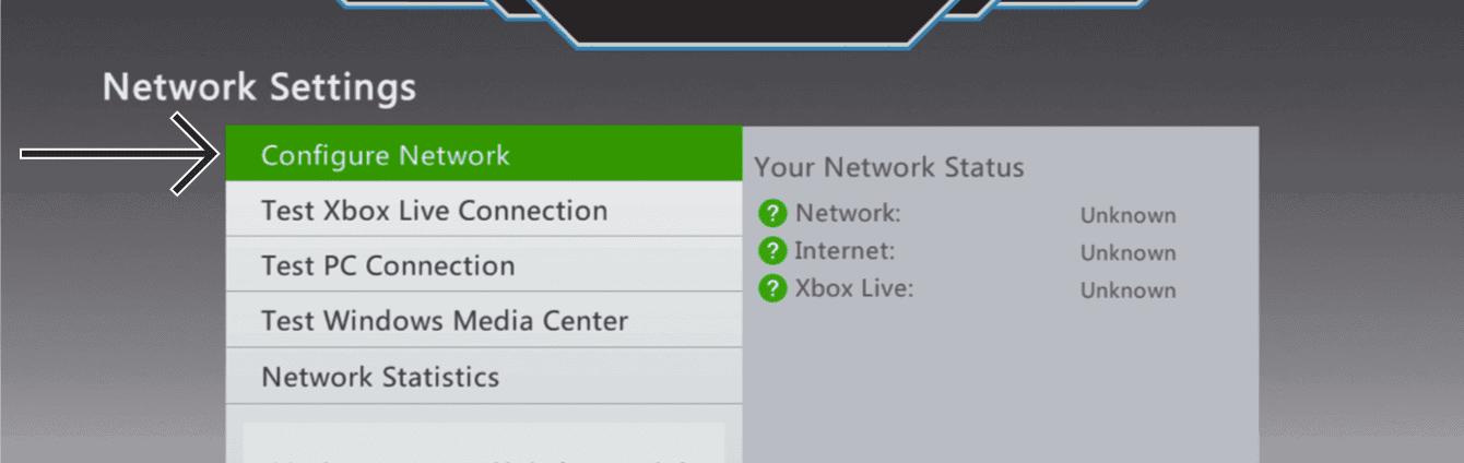 "Select ""Configure Network."""