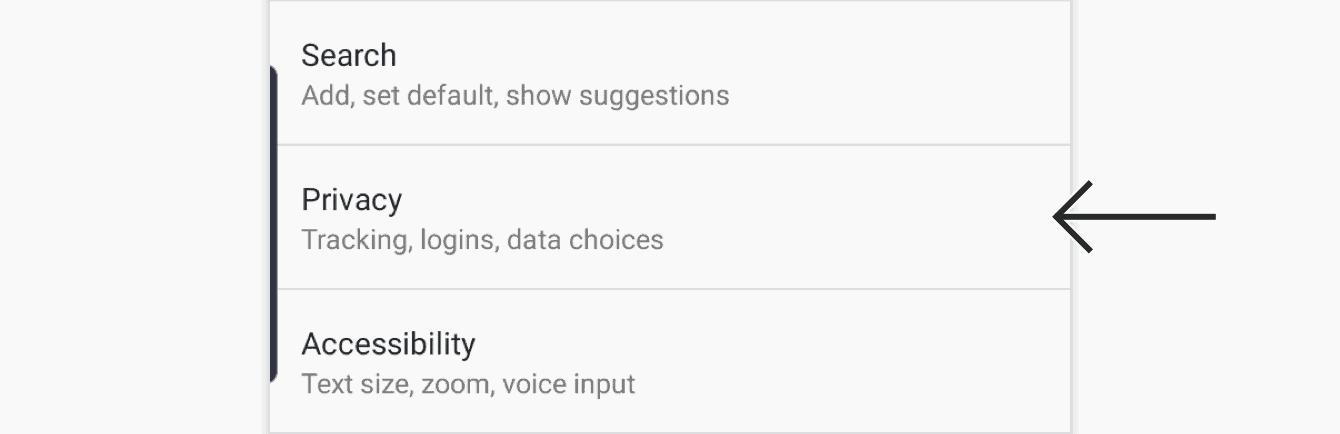 "Tap ""Privacy."""
