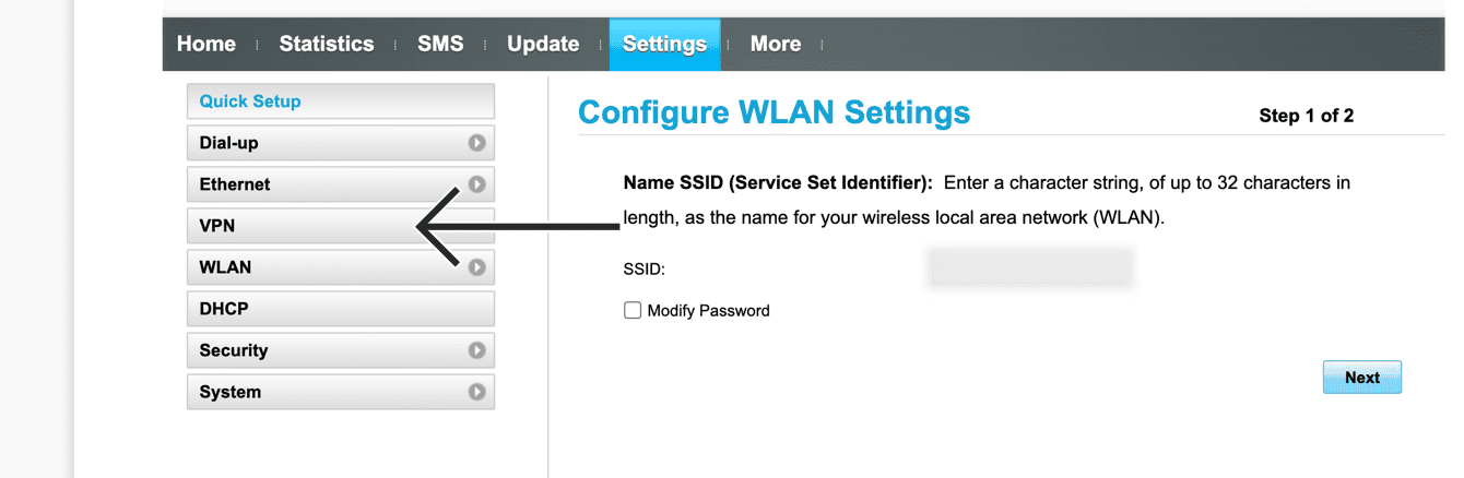 """Seleccione """"VPN."""""""
