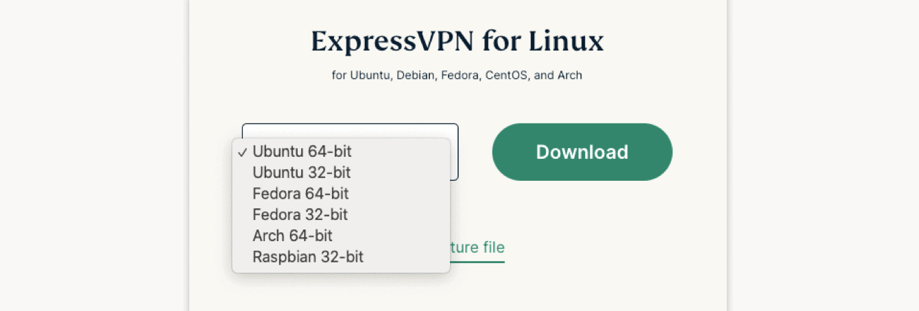 Select your Linux operating system.