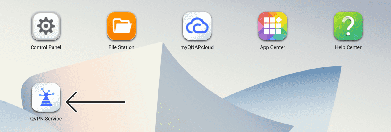 """In your QNAP dashboard, select """"QVPN Service."""""""