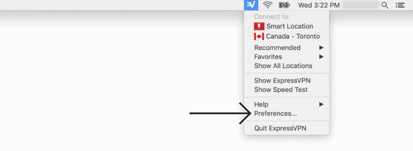 """Haga clic en el icono de la barra de menú de ExpressVPN, y luego en """"Preferencias""""."""
